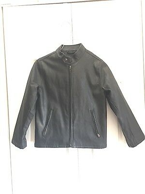 Gap Kids boys black faux leather jacket small 6/7