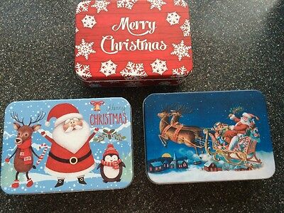 3 X TIN FATHER Christmas GINGERBREAD SMALL 14CM Storage RETRO Gift sweet Boxes
