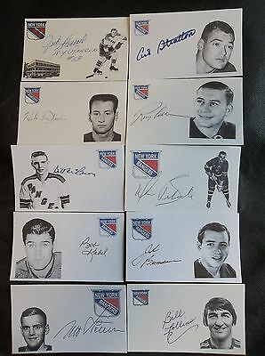 New York Rangers 10 Autographed 3x5 Index Cards Lot H