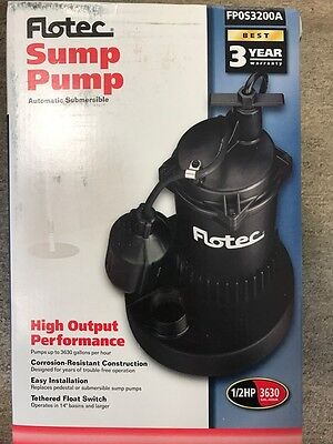 Flotec # FP0S3200A 1/2HP (3630 Gal/Hr) Utility Pump Submersible Thermoplastic