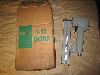 "Vintage Heavy Duty Pneumatic Bostitch Tacker Model T34 Uses 16Ga 1-1/2"" Staples"
