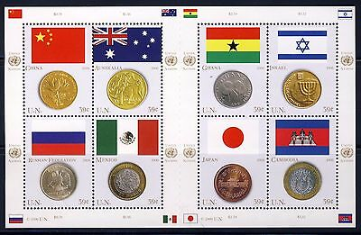 UN - NY 2006 Flags and Coins . Sheet of 8 . Mint Never Hinged