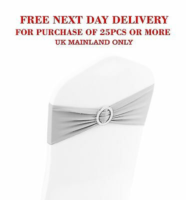 Silver Spandex Lycra Chair Cover Round Shape Buckle Band Wedding Decor
