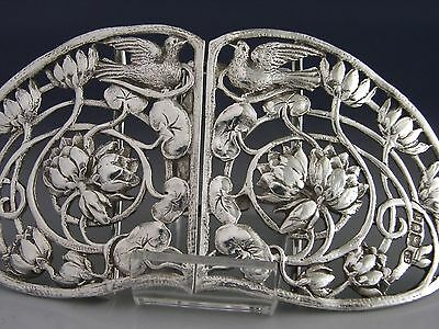 Large Victorian Sterling Silver Belt Nurses Buckle 1901 Art Nouveau Antique