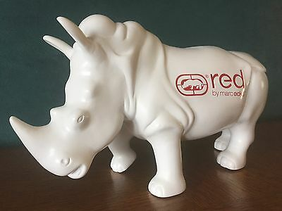 """Rare Rhino Statue, Marc Ecko Store Display Only, 11.5"""" Long, White / Red Logo"""