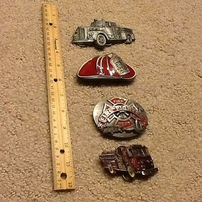 Vintage Firefighters Fire Engine Collection Lot 4 Belt Buckles awesome gift