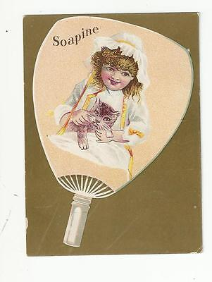 Girl With Kitten Soapine Kendall Mfg Providence Ri Victorian Trade Card