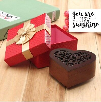 Wooden Heart Shape Carving Music Box : You Are My Sunshine