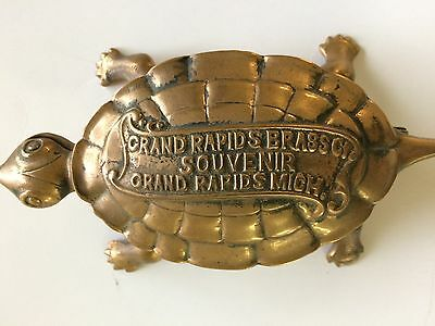 Vintage, Collectible Brass Turtle From Grand Rapids, Mi Brass Company