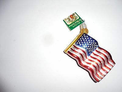 Old World Christmas PATRIOTIC Old Glory Flag Blown Glass Ornament