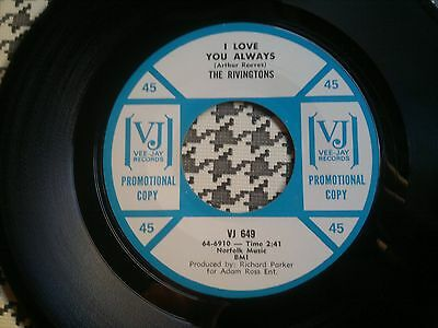 "THE RIVINGTONS - I Love You Always - VEE-JAY  45s""     Northern Soul"