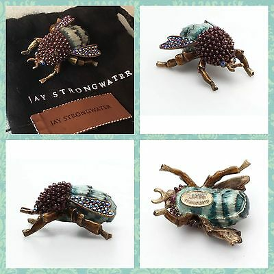 Nwt• Jay Strongwater Bumble Bee • Swarovski Crystals Turquoise Enamel Rare Color