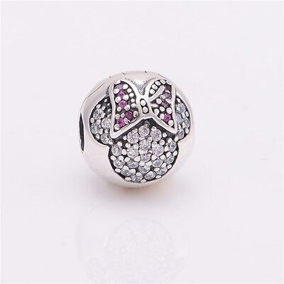 S925 Sterling Silver EUROPEAN Charm Minnie Mouse Pave Clip -FREE Pandora Cloth