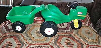 Vintage Little Tikes Dollhouse Green Tractor with Trailer Cart Wagon NICE