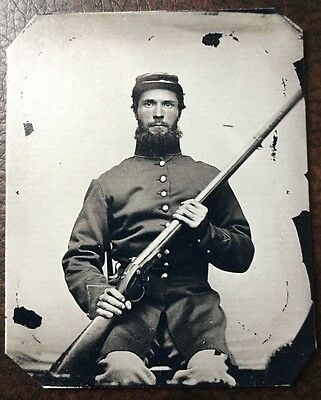 Civil War Military Soldier With Rifle & Beard TinType C216NP