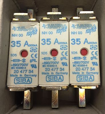 SIBA fuse - NH00 - 35amp 2047734  20 477 34 NEW Made in Germany - Box of 3