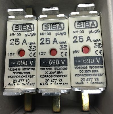 SIBA fuse NH00 25amp 2047713  20 477 13 NEW Made in Germany - Box of 3