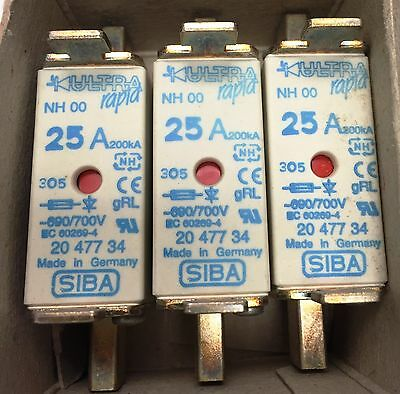 SIBA fuse - NH00 - 25amp 2047734  20 477 34 NEW Made in Germany - Box of 3