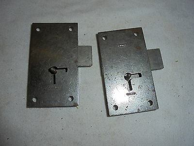 Two antique vintage Corbin cabinet locks