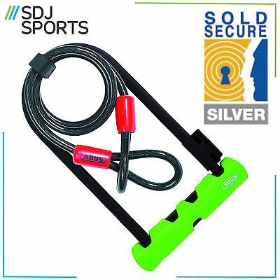 Abus Ultra 410 Bike D Lock With 1.20M Steel Cable Silver Sold Secure Cycle Lock