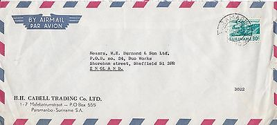 F 2164 Suriname Paramaribo 1970 airmail commercial cover to UK; 30c rate