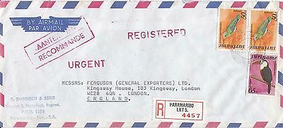F 2166 Suriname reg, airmail 1977 cover to UK; 165c rate; 3 bird stamps