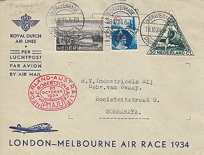 F 14 MacRobertson Air race 1934 commercial cover Netherlands Dutch East Indies