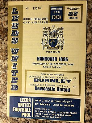 Leeds United V Hannover 1896 Fairs Cup 3rd Round 1st Leg 1968