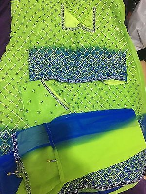 New Ladies Asian 3 Piece Lengha Style Suit - Green and Blue - Size 40 (M-L)
