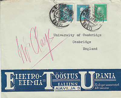 F 781 Estonia pretty 1938 cover to Cambridge University+  cinderella