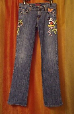 Disney Embroidered Mickey Mouse Butterflies & Flowers Jeans Size 28