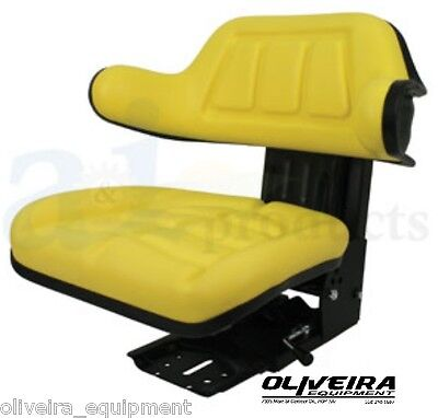 Yellow Tractor Suspension Seat, John Deere, Wrap Around Back With Arms