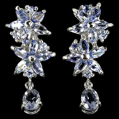 Genuine Natural Tanzanite Marquise & Round 925 Sterling Silver Flower Earrings