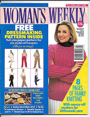 Woman's Weekly magazine for 7th February 1989 -complete including sewing pattern