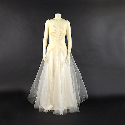 Vintage 50s Cream + White Slipper Satin Princess Tulle Strapless Wedding Dress S
