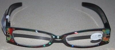NEW Peepers Reading Glasses Strength +3.00 Color Yellow/Red/Green Extrovert #611