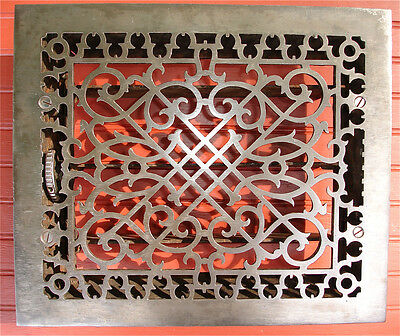 "Antique 1863 Heat Grate Tuttle & Bailey Patented 12"" x 14"" Ornate Steel"