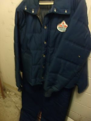 Vintage Amoco  Gas Station Employee Jacket and Jumpsiut Large quilted