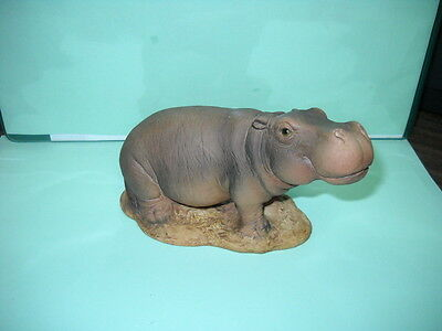 "Hippo, Small Figurine, 3"" X 5"", Hand Painted"