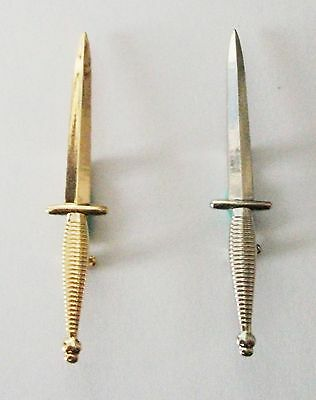 Large Commando Dagger Badge - Gold Or Silver Coloured Metal