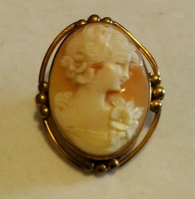 VTG Victorian Shell Carved Cameo Gold Filled Brooch Beautiful
