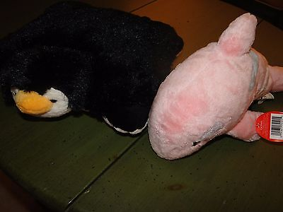 NWT LOT OF 2 Pillow Pets Penguin/Fiesta Pink Dolphin