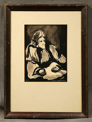 Black and White Watercolor of an Arabic Man signed and dated 1935