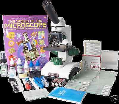 OM117L-XSP2 2-in-1 40x-400x Monocular Compound LED Student Microscope Gift Set