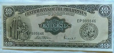 Beautiful Uncirculated 1949 10 Peaos Central Bank of the Philippines