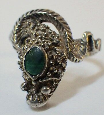 Vintage Sterling Silver Coiled Snake Ring w/Malachite Stone Ring Size 9