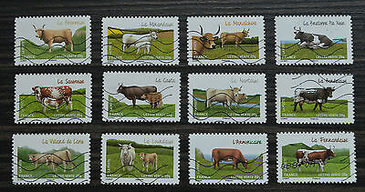 France Stamps Full serie cows of our regions 2014 Used