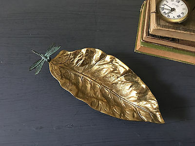 Solid Brass Leaf Dish Decor Tray  with Verdigris DRAGONFLY