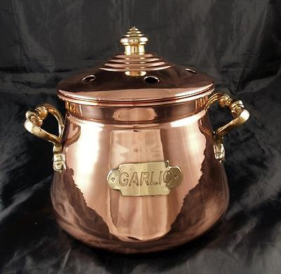 Antique Vintage Copper & Brass Lidded Garlic Storage Pot Container