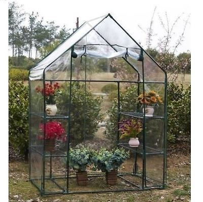 Walk In Greenhouse 4 Shelves Reinforced Outdoor Garden Compact Green House Frame